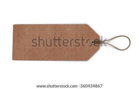 Cardboard label isolated on white background. Blank cardboard tag tied with brown string for your design. 3d rendering.