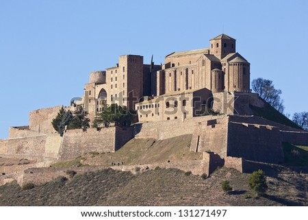 CARDONA, SPAIN - DECEMBER 8: View on Cardona Castle in Catalonia, Spain. One of the most important medieval fortess. This picture was taken from outside on December 8, 2012 in Cardona, Spain.