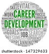 Career development in word tag cloud on white - stock