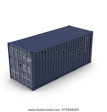 Cargo container on the white 3D Illustration