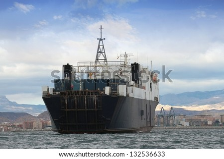 Cargo ship sailing in open waters