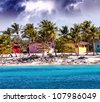 Caribbean beautiful Beach house with coconuts trees, Santo Domingo - stock photo