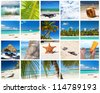 Caribbean collage with different parts of tropical landscape - stock photo