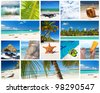 Caribbean collage with different parts of tropical landscape, Dominican Republic - stock photo