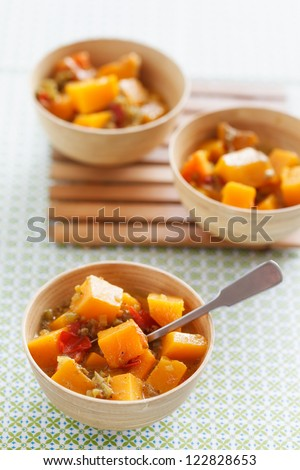 Caribean vegetable curry with pumpkin.