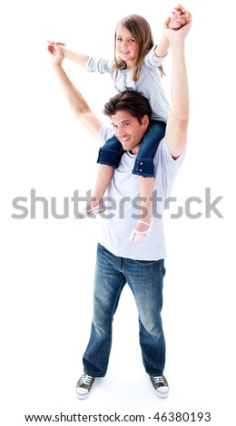 Caring father giving his daughter piggyback ride against a white background