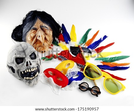 carnival masks and accessories isolated