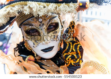 Carnival of Venice, beautiful masks at St. Mark's Square, Italy. 12.Feb.2013.