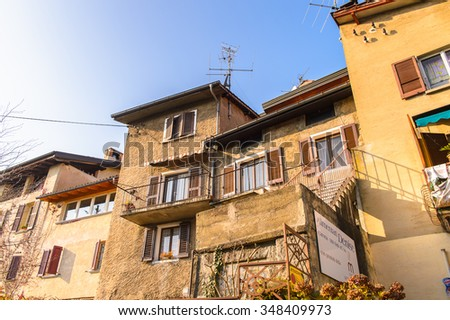 CARONA, SWITZERLAND - DEC 6, 2015: House in Carona, a former municipality in the district of Lugano in the canton of Ticino in Switzerland