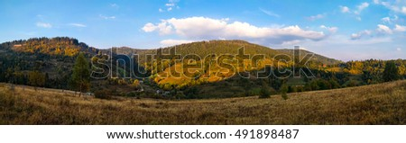 Carpathian mountains landscape in the autumn season