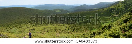 Carpathian Mountains Panorama from Hoverla, Ukraine
