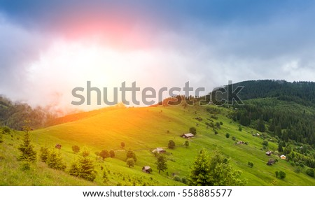 Carpathians mountain landscape under morning sky. Ukraine.