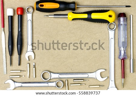 Carpentry and set of hand tools. Frame composition with copy space top view.