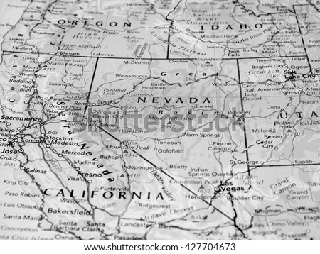 CARSON CITY, USA - CIRCA MAY 2016: Map of the state of Nevada with selective focus on state name in black and white