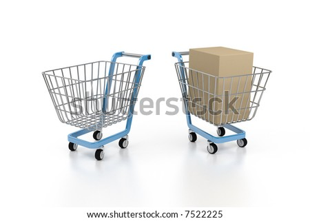 cart in the store of the self-service