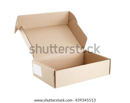 carton box open and empty with blank sticker label attached to the side isolated on white background, packaging for postal delivery