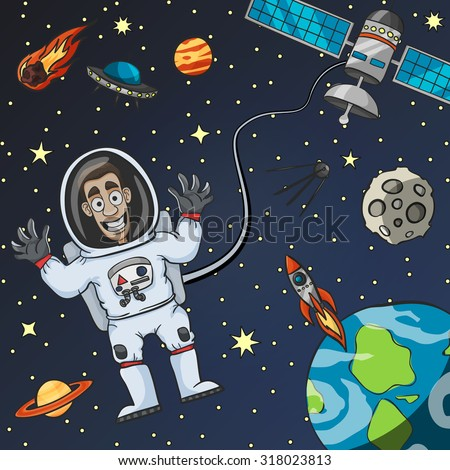 astronaut floating in space clipart - photo #28