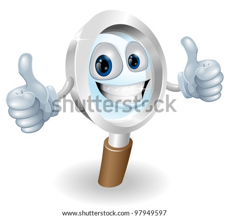 Cartoon character magnifying glass man mascot illustration graphic