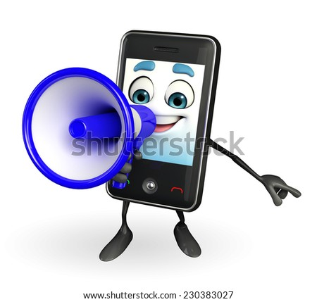 Cartoon Character of Mobile with Loudspeaker
