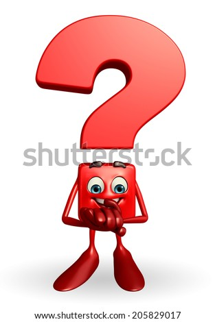 Cartoon Character of Question Mark with holding hand