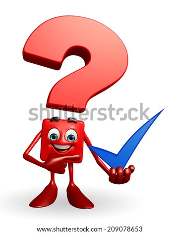 Cartoon Character of Question Mark with right sign