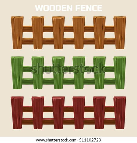 Cartoon Colorful Wooden Fence Set Stock Vector - Cartoon fence clip art