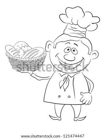Cartoon cook - chef with a basket of bread, black contour on white background