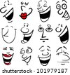 Cartoon faces and emotions for humor or comics design - stock vector