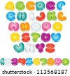 Cartoon Font. Set of Isolated Letters and Numbers for your Design - stock vector