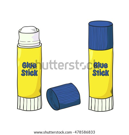 Cartoon glue stick isolated on white. Raster version.