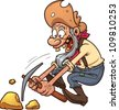 Cartoon gold prospector. Vector illustration with simple gradients. All in a single layer. - stock vector