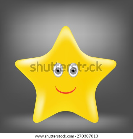 Cartoon Gold Star Isolated on Grey Background.