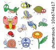 Cartoon hand-drawn cute insects set (raster version). - stock vector