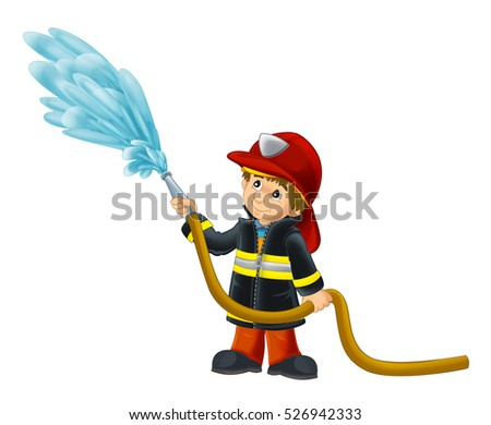 Cartoon happy and funny fireman - isolated background - illustration for children