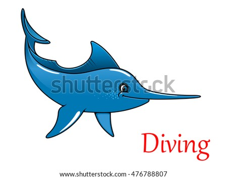 Cartoon happy cute swordfish character isolated on white for sport fishing and ocean wildlife design