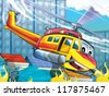 Cartoon helicopter - rescue situation - fire - vertical starter - illustration for the children - stock vector