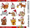 Cartoon Illustration of Christmas Themes with Cats and Dogs set - stock photo
