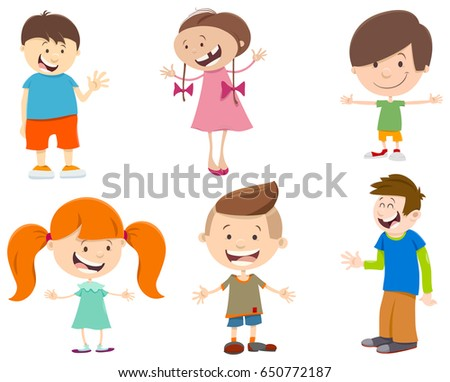 cartoon illustration of cute kids characters set - Cartoon Kids Pics