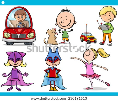 Cartoon illustration of cute little boys and girls children characters