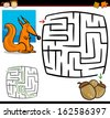 Cartoon Illustration of Education Maze or Labyrinth Game for Preschool Children with Funny Squirrel Animal and Acorns - stock vector