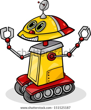 Cartoon Illustration of Funny Robot or Droid