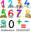 cartoon illustration of numbers from zero to nine with animals - stock vector