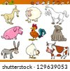 Cartoon Illustration Set of Comic Farm and Livestock Animals isolated on White - stock vector
