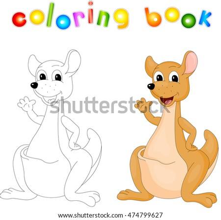 Cartoon Kangaroo Isolated On White Coloring Book