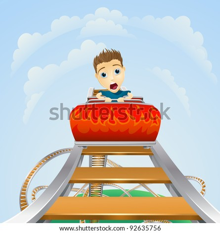 Cartoon of a young boy or man looking terrified on a roller coaster ride