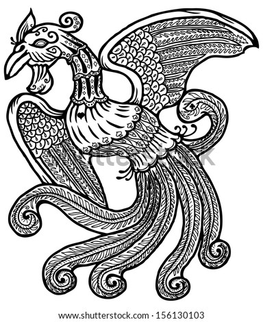 Cartoon of an ancient exotic mythical phoenix bird symbolising rebirth, immortality and renewal, isolated against white.