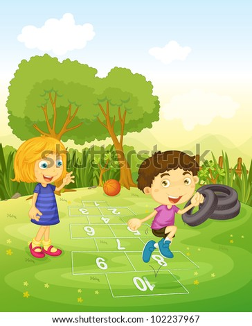 Cartoon of children playing hopscotch - EPS VECTOR format also available in my portfolio.
