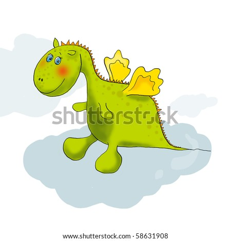 Cartoon of cute little baby dragon in green color