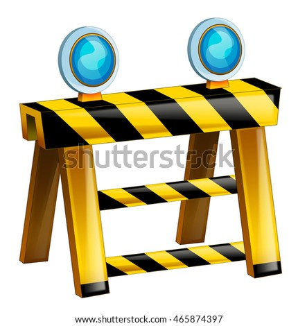 Cartoon road block - barricade - isolated - illustration for children