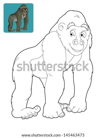cartoon safari coloring page illustration for the children